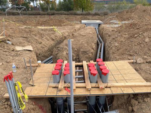 Lawrence Thousand Oaks CA, tilt-up office warehouse onsite underground preparation.